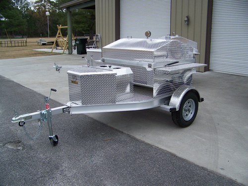 Front View Of Barbecue Trailer With Storage Box And