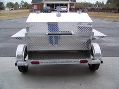 Barbecue trailer grill with cool touch handle and hood latch