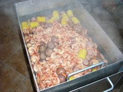 Delicious shrimp boil in the Seafood Steamer